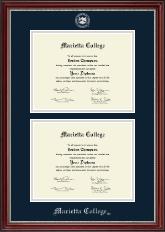 Double Document Diploma Frame in Kensington Silver