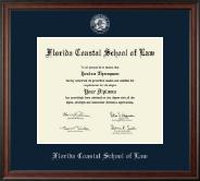 Florida Coastal School of Law Silver Embossed Diploma Frame in Studio