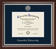 Concordia University Portland Silver Engraved Medallion Diploma Frame in Devonshire
