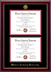 Gold Engraved Double Diploma Frame in Gallery