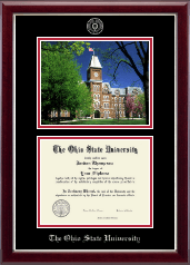 Campus Scene Edition Diploma Frame in Gallery Silver