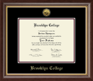 Brooklyn College Gold Engraved Medallion Diploma Frame in Hampshire