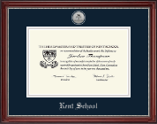 Kent School in Connecticut Silver Engraved Medallion Diploma Frame in Kensington Silver
