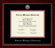 Indiana Wesleyan University  Silver Engraved Medallion Diploma Frame in Sutton