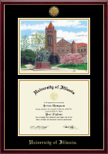 Gold Engraved Campus Scene Lithograph Diploma Frame in Galleria