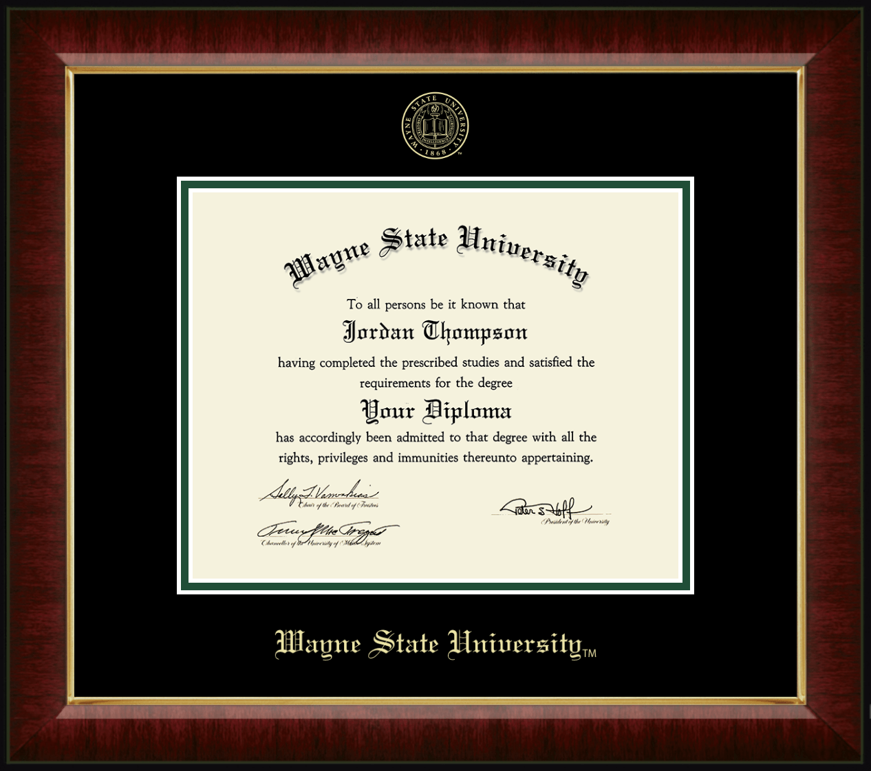 Wayne State University Gold Embossed Diploma Frame In Murano Item 248588 From Wayne State University