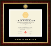 School of Visual Arts Gold Engraved Medallion Diploma Frame in Murano