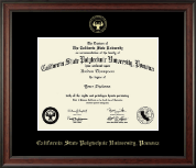 California State Polytechnic University, Pomona Gold Embossed Diploma Frame in Studio