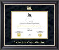 The Institute of Internal Auditors Gold Embossed Certificate Frame in Noir