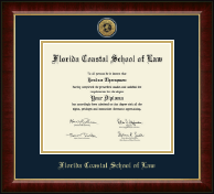 Florida Coastal School of Law Gold Engraved Medallion Diploma Frame in Murano