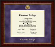 Converse College Gold Engraved Medallion Diploma Frame in Murano