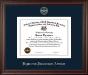 Registered Investment Advisor Gold Embossed Certificate Frame in Studio