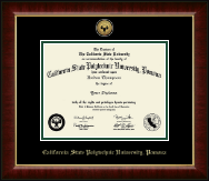 California State Polytechnic University, Pomona Gold Engraved Medallion Diploma Frame in Murano