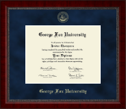 George Fox University Double Diploma Display George Fox Campus Fisheye Photo Two School Major Certificate Frame Emboss Case College Holder