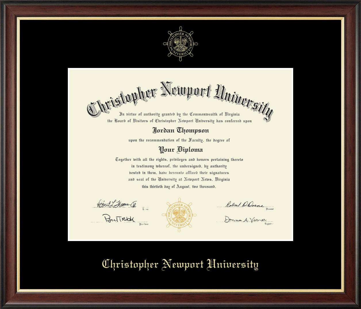 Christopher Newport University Gold Embossed Diploma Frame In Studio Gold Item 260922