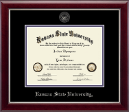 Kansas State University Silver Embossed Diploma Frame in Gallery Silver