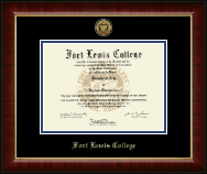 Fort Lewis College Gold Engraved Medallion Diploma Frame in Murano