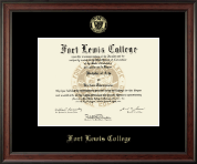 Fort Lewis College Gold Embossed Diploma Frame in Studio