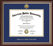 American Public University Gold Engraved Medallion Diploma Frame in Hampshire