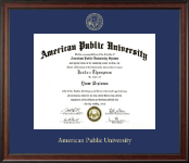 American Public University Gold Embossed Diploma Frame in Studio