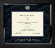 Silver Engraved Medallion Diploma Frame in Eclipse