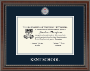 Kent School in Connecticut Masterpiece Medallion Diploma Frame in Chateau