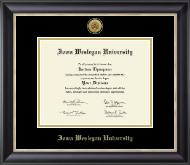 Iowa Wesleyan University Gold Engraved Medallion Diploma Frame in Noir