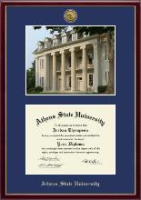 Gold Engraved Medallion Campus Scene Diploma Frame in Galleria