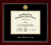 Saint Paul College Gold Engraved Medallion Diploma Frame in Sutton