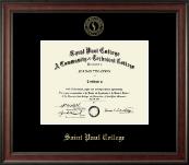 Saint Paul College Gold Embossed Diploma Frame in Studio