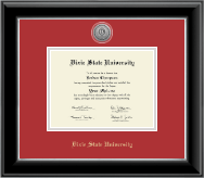 Dixie State University Silver Engraved Medallion Diploma Frame in Onyx Silver