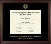 California Polytechnic State University San Luis Obispo Gold Embossed Diploma Frame in Studio