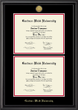 Gold Engraved Double Diploma Frame in Midnight