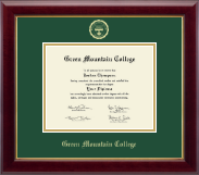 Green Mountain College Gold Embossed Diploma Frame in Gallery