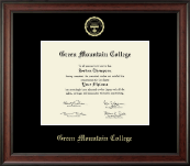 Green Mountain College Gold Embossed Diploma Frame in Studio