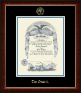 The Citadel The Military College of South Carolina Gold Embossed Diploma Frame in Murano