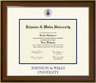 Johnson & Wales University in Rhode Island Dimensions Diploma Frame in Westwood