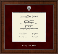 Albany Law School Presidential Silver Engraved Diploma Frame in Madison