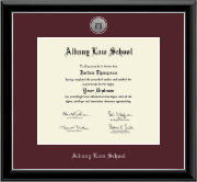 Albany Law School Silver Engraved Medallion Diploma Frame in Onyx Silver