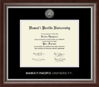 Hawaii Pacific University Silver Engraved Medallion Diploma Frame in Devonshire