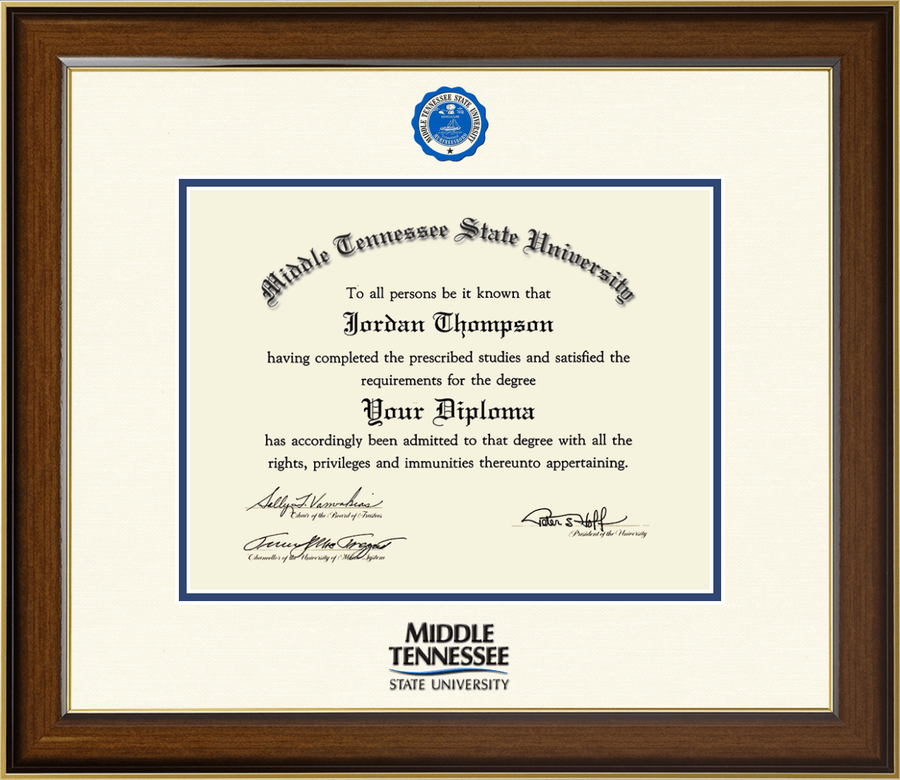 Middle Tennessee State University Dimensions Diploma Frame In Westwood Item 291146