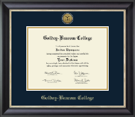 Gold Engraved Medallion Diploma Frame in Noir