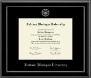 Indiana Wesleyan University  Silver Embossed Diploma Frame in Onyx Silver