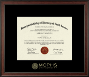 MCPHS Gold Embossed Diploma Frame in Studio