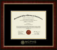 MCPHS Gold Embossed Diploma Frame in Murano