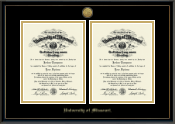 Gold Engraved Double Diploma Frame in Onexa Gold