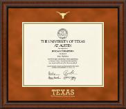 Gold Embossed Longhorn Diploma Frame in Austin