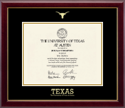 Gold Embossed Longhorn Diploma Frame in Gallery