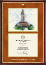 Campus Scene Diploma Frame in Kensington Gold