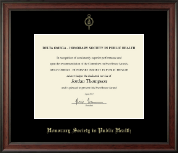 Gold Embossed Certificate Frame in Studio